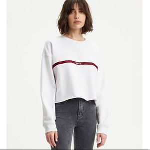 Levi's white cutoff crew neck sweatshirt